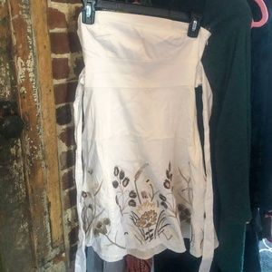 Guess Strapless White embroidered dress